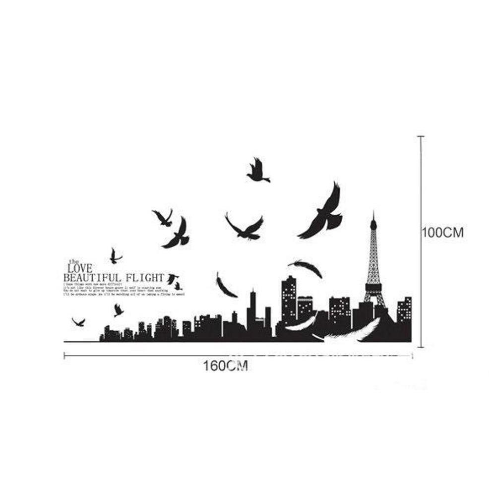 Promo Stiker Dinding Wallpaper 60x90cm Motif Karakter Menara Paris Eiffel New York Hitam Putih