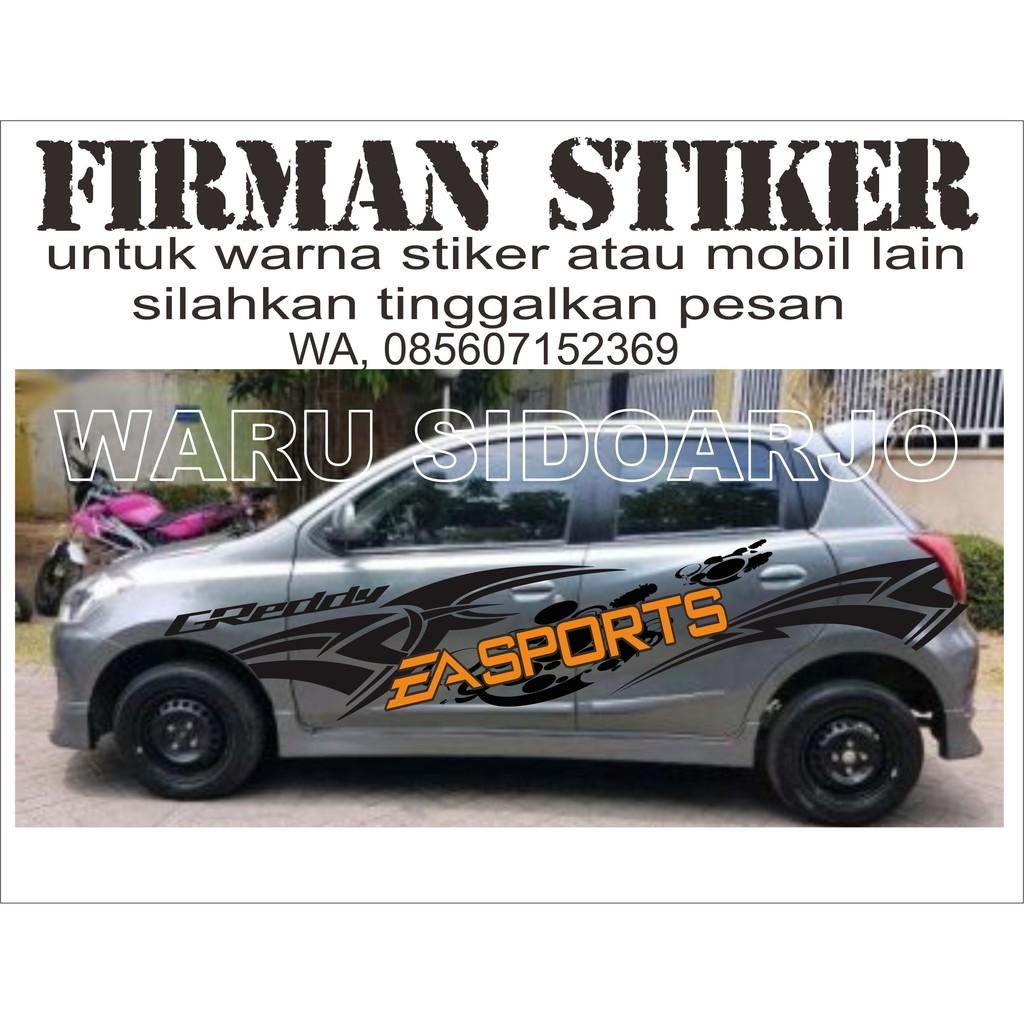Stiker Mobil Datsun Go 2 Baris Grey DGC Shopee Indonesia