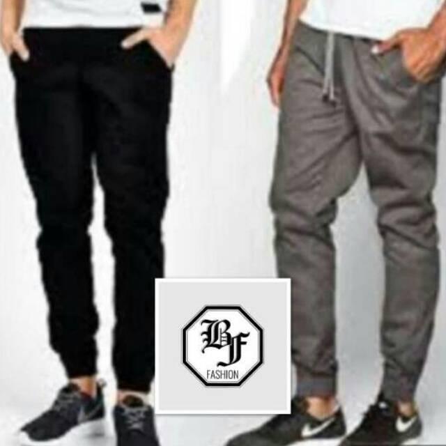 jogger pants cowok polos big size / celana joger polos