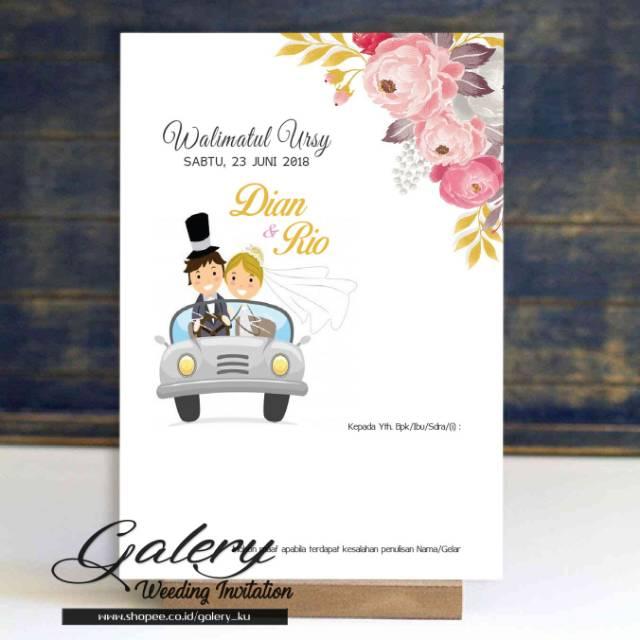Undangan Pernikahan Animasi Pengantin Bunga Lucu Cantik Simple