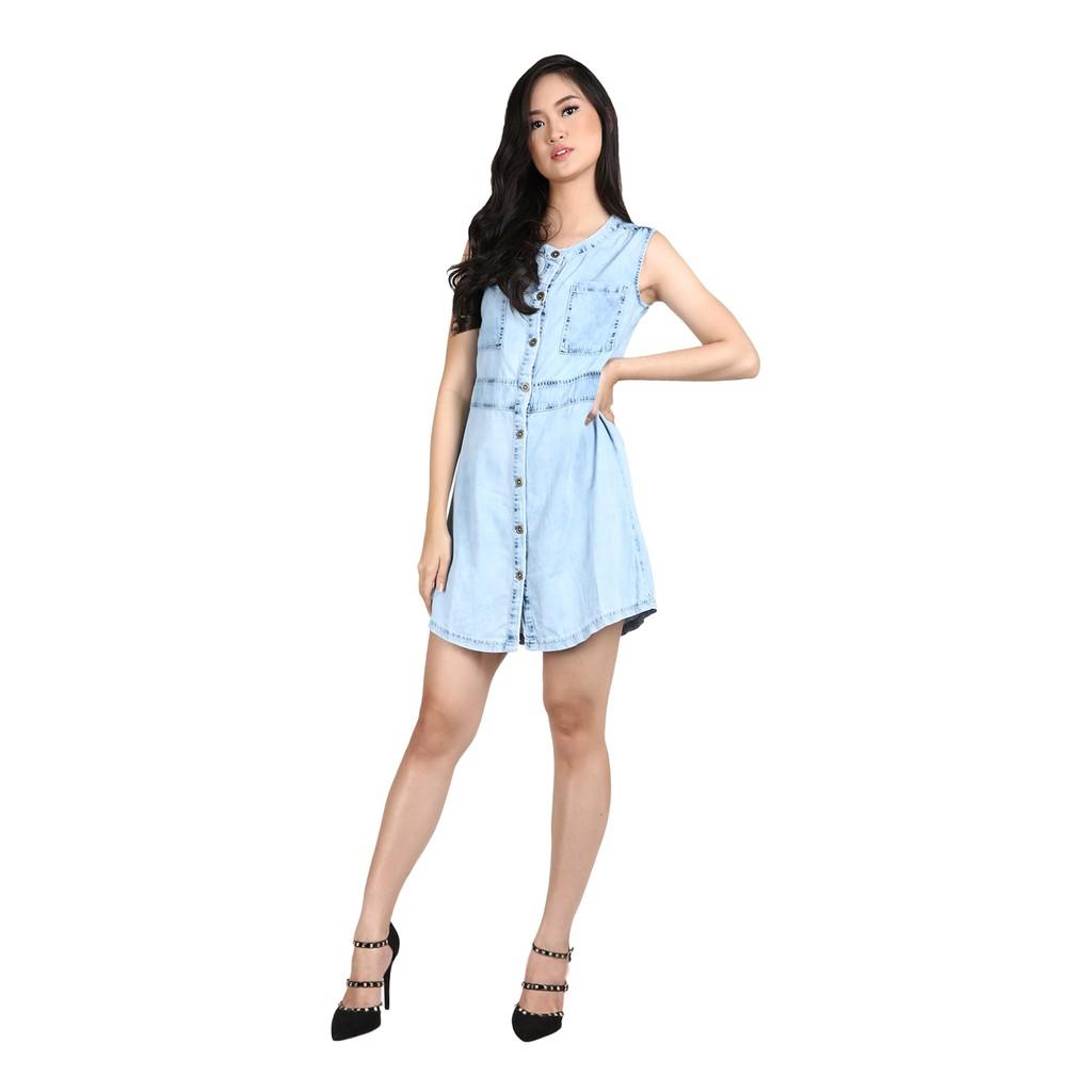 Miyoshi Josei Mj17dr019wc Denim Dress Shopee Indonesia Mj18dr090aj Woven Belt Pink Merah Muda M