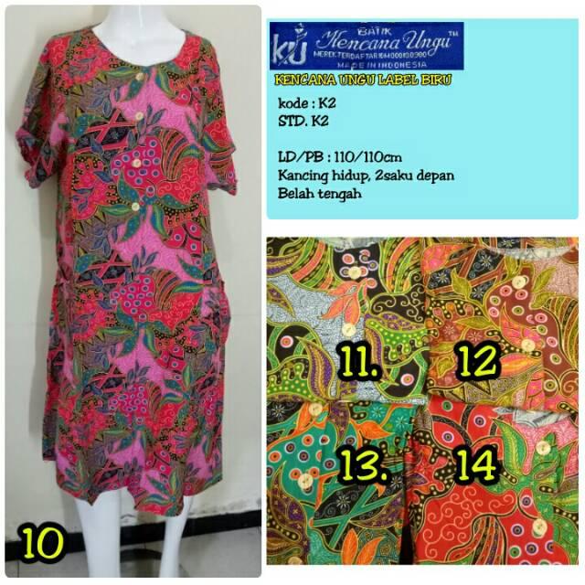 Daster Batik Kencana Ungu L3 Asli Label Biru Ld 135cm 3 Kancing Lengan  Kalong Jumbo  014fafeaa9