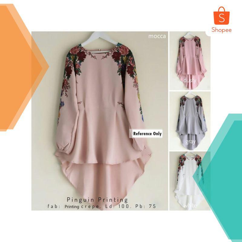 Baju blus wanita atasan panjang Rosebelle Pinguin Printing   Shopee Indonesia