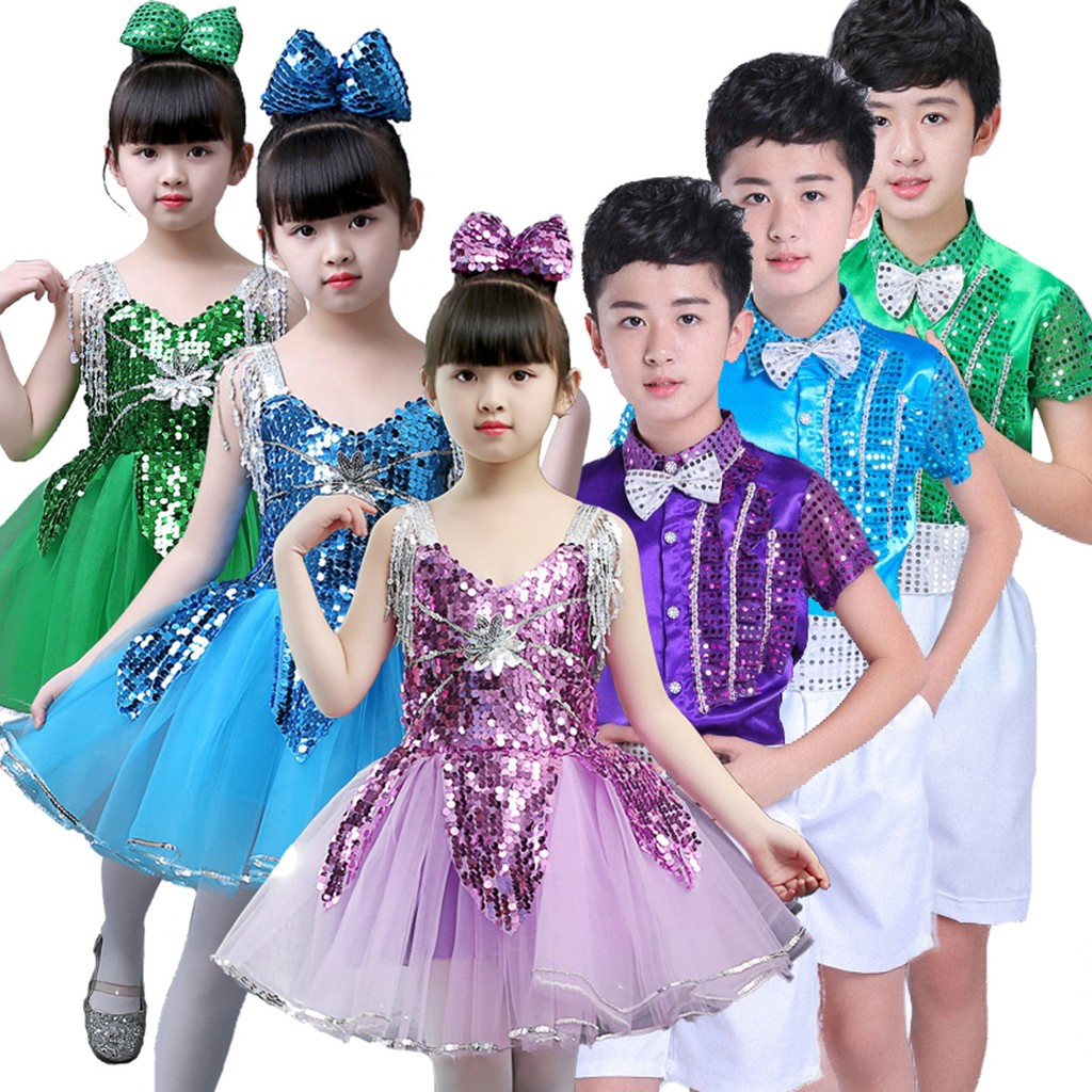 Kids Girls Sequins Tutu Dance Dress with Big Bow Boys Stage Performance  Costume