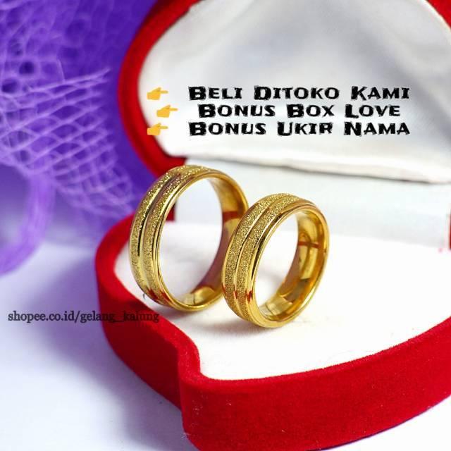 Kuningan berlapis emas 24K cincin pria cincin emas pasir kata berkat | Shopee Indonesia