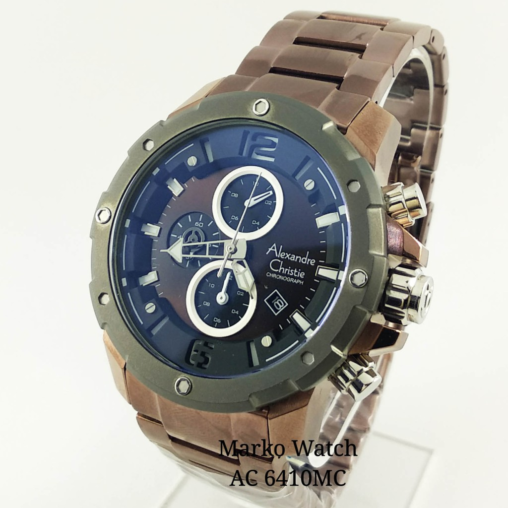 Alexandre Christie Original Ac 6463mc Plat Hitam Casing Rgold Rantai 6410mc Shopee Indonesia