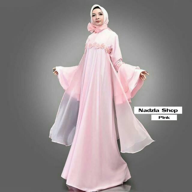 Gamis Pesta Mewah Dress Organza Premium Nadzla