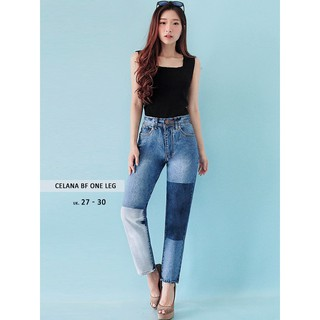 Celana Boyfriend Wanita - Celana BF One Leg Ancien Store   Shopee Indonesia