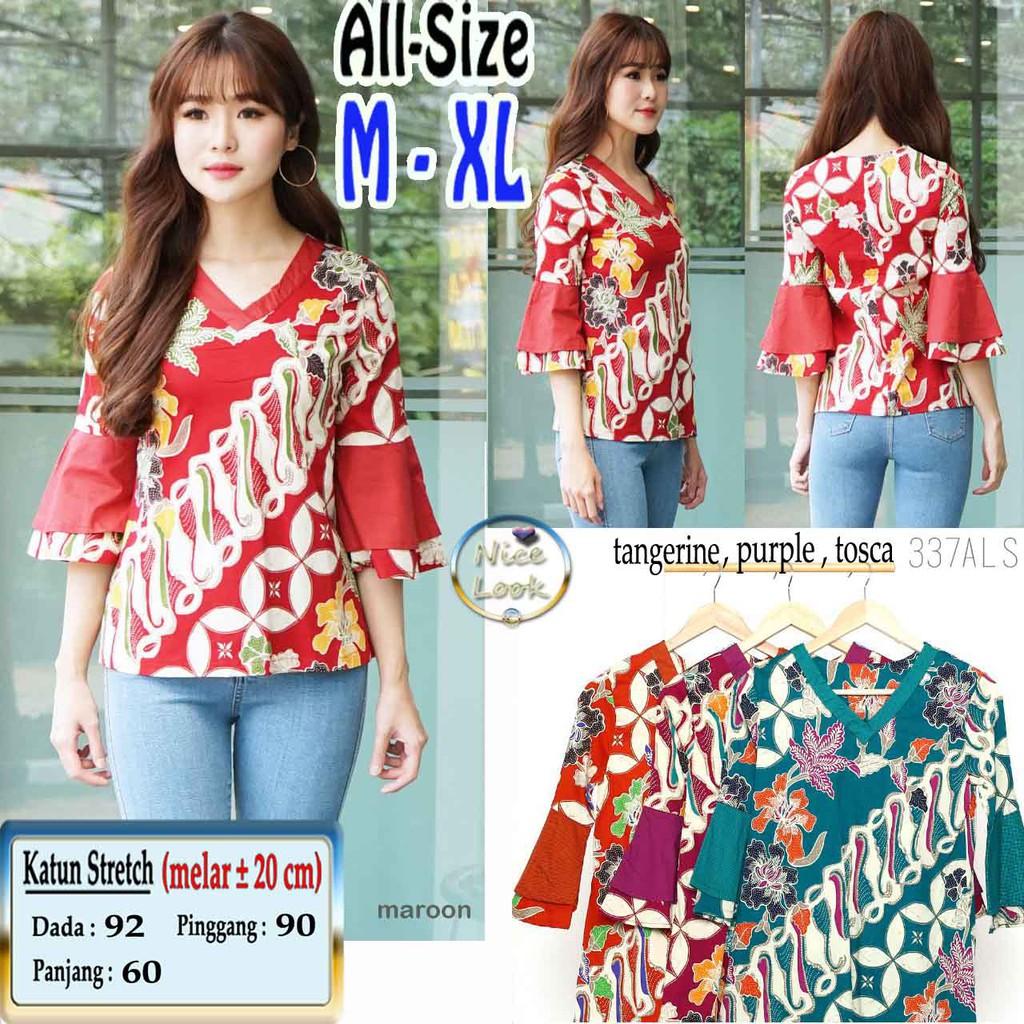 337als Blouse Atasan Batik Modern All Size M Xl Katun Stretch Baju Wanita Rianty Moana Blue Termurah Rheva White Shopee Indonesia