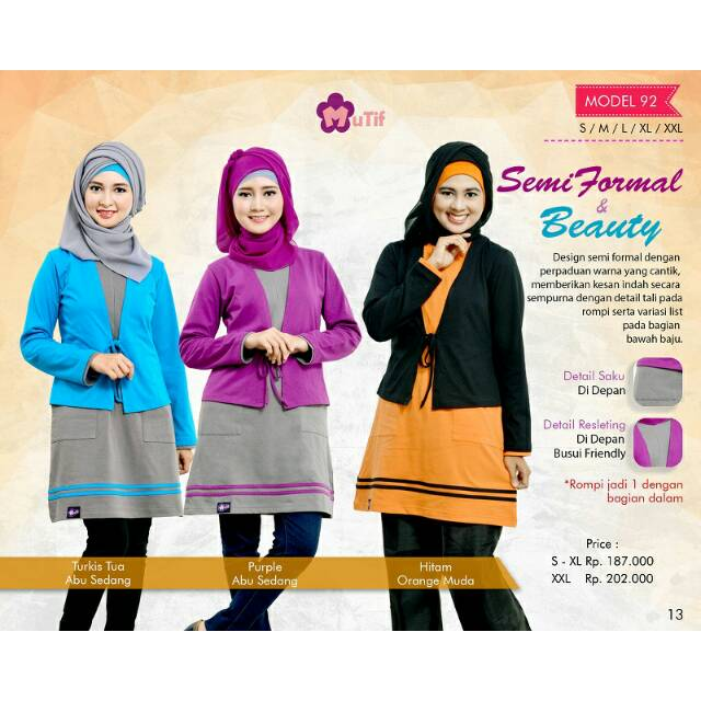Mutif 144  Hijab Fashion  Baju Muslim  Tunik  d5cd12c551