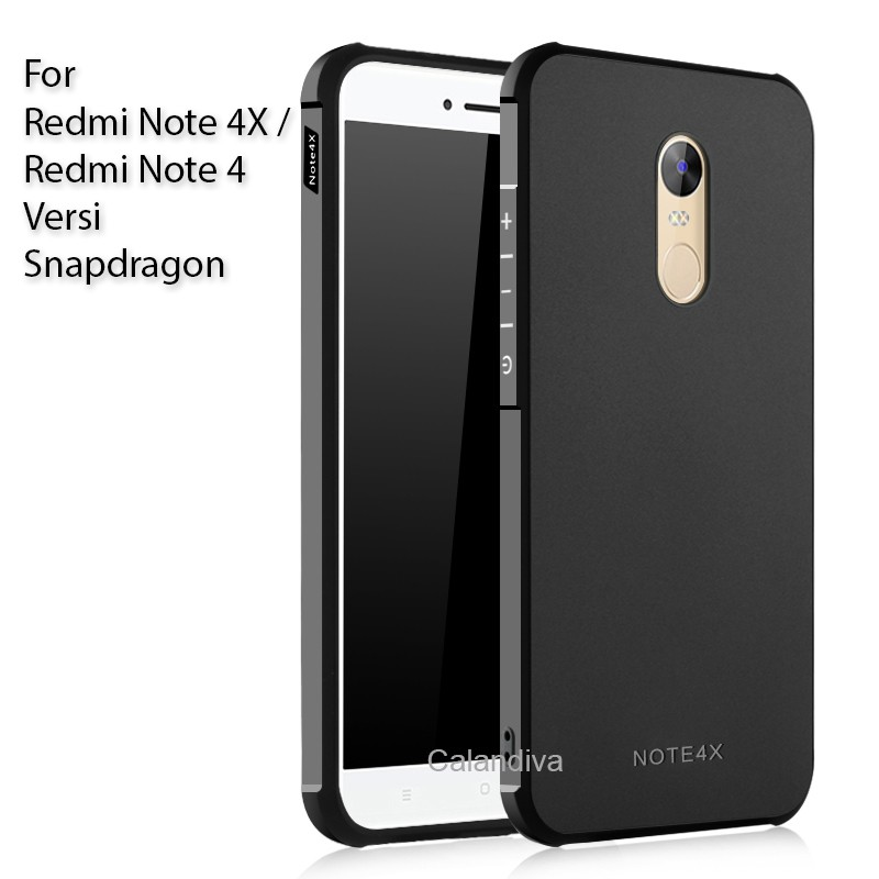 Calandiva Shockproof Hybrid Case for Xiaomi Redmi Note 4 / Note 4X versi Snapdragon - Hitam | Shopee Indonesia