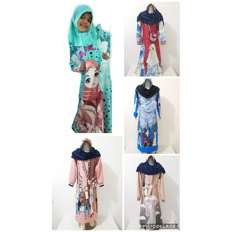 Terbaru Baju Gamis Anak Manasik Warna Putih Simple S9X9 Grosir Gamis Scuba  / Gamis Scuba Anak / Ba