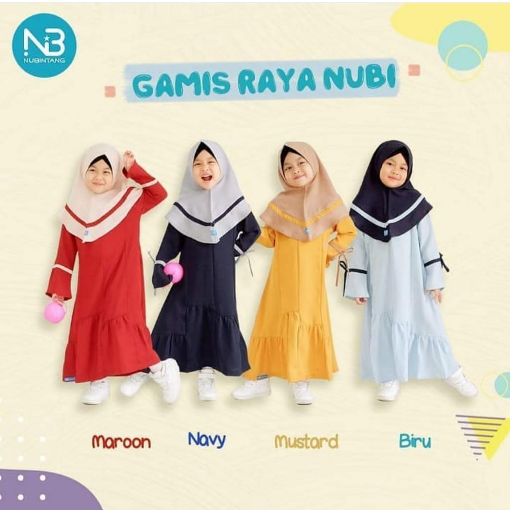 Gamis Raya Kids Nubintang/ Gamis Anak Perempuan/ Gamis Kids/ Baju Anak  Muslim Perempuan