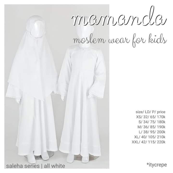Gamis Anak All White set Jilbab Saleha Series by Mamanda