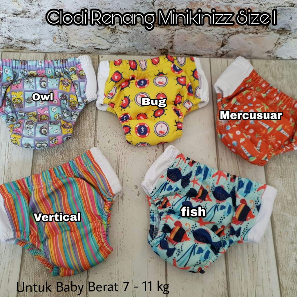 Clodi Swim Diaper Minikiniz Ukuran 1 Termurah Shopee Indonesia Minikinizz Izzy Eco Cloth Popok Kain Grosir  Motif 6
