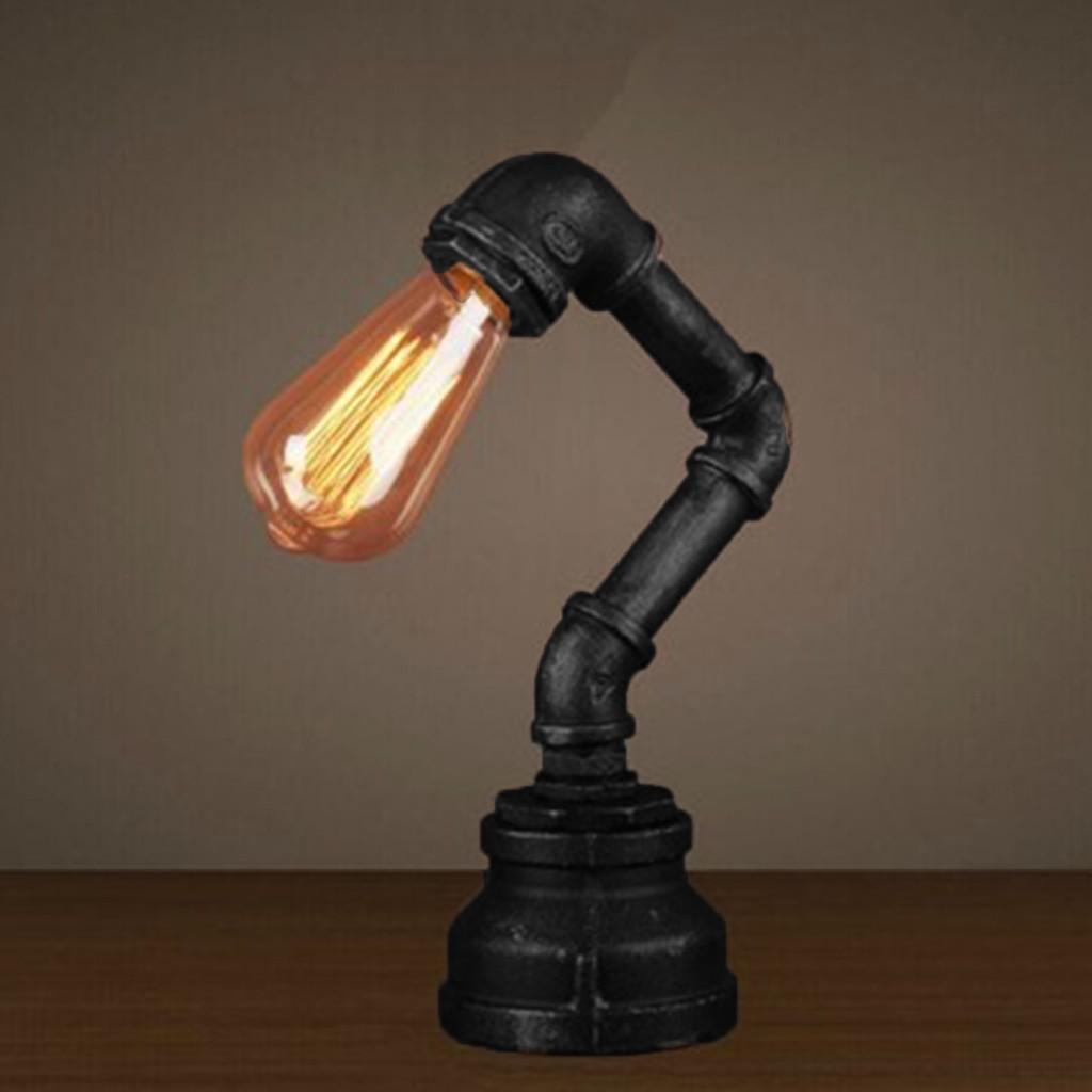 Vintage Industrial Retro Urban Style Iron Pipe Desk Table Lamp Light UK Plug
