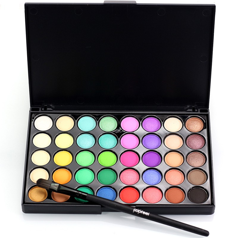 Set Palet Eyeshadow Kosmetik/Makeup 40 Warna Tanah Pearl Glitter Matte+Brush