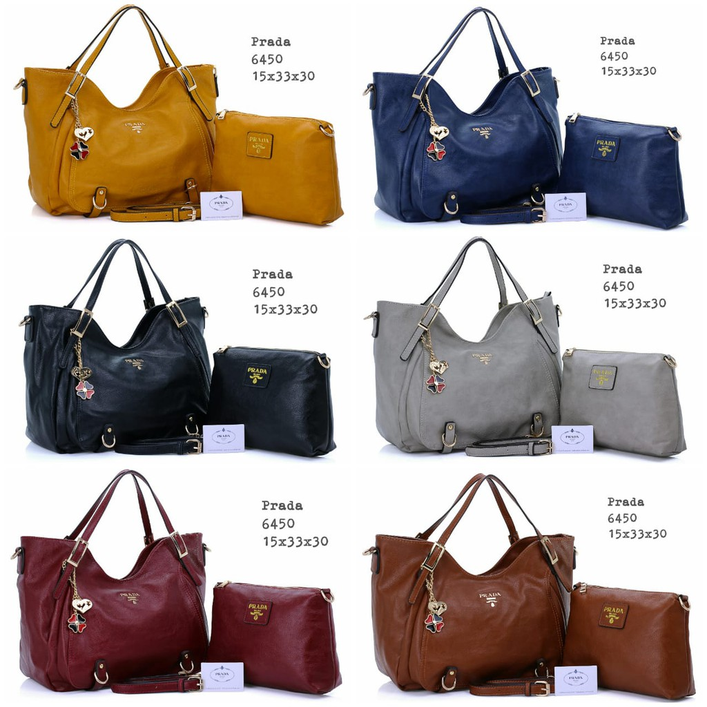 TAS BRANDED IMPORT MURAH - Tas Prada Milanos Tote Vintage Leather 2IN1  Semprem B207  2ff040129d