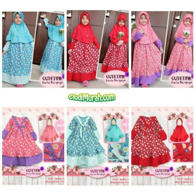Set Senshukei 3in1 Pink Set Diagonal Organdy Skirt Baju Muslim Import Baju Anak Pakistan India | Shopee Indonesia