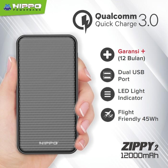 Hippo Powerbank Zippy 2 12000mAh Quick Charge 3.0 Garansi Resmi