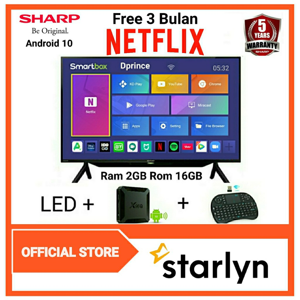 SHARP Aquos LED TV 42inch Smart Android Box Ram 2GB Free 3 Bulan NETFLIX 2T-C42BB1i