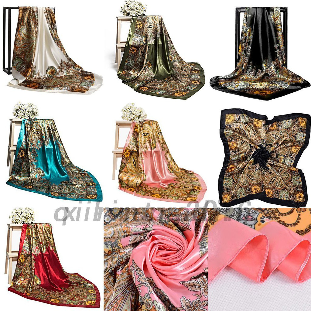 1409efc70a5 Ladies Silk Floral Bandana Square Head Neck Scarf Satin Shawl 90cm 6 Colors  AU