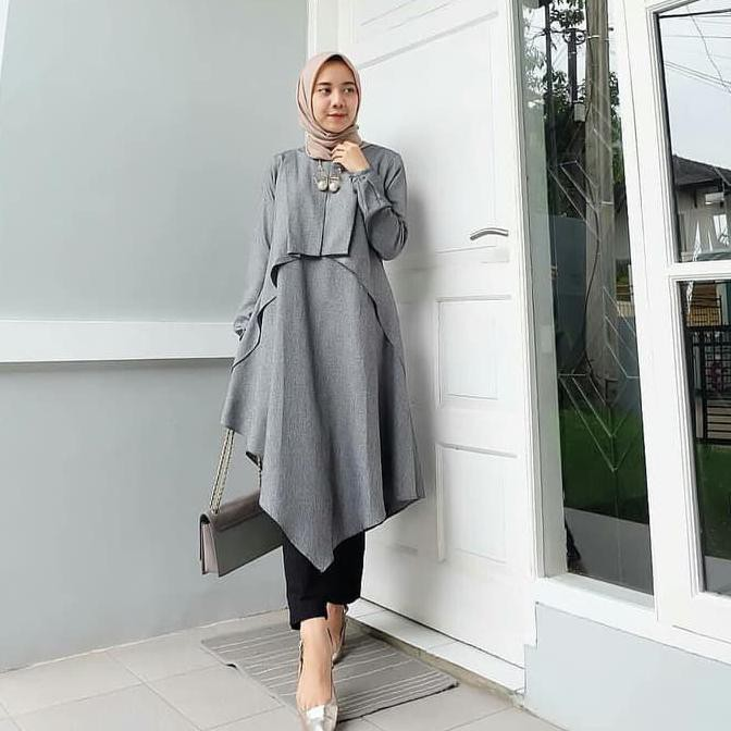 Milka Tunik Muslim Wanita Fashion Modern / Tunik / Blouse Milka | Shopee Indonesia