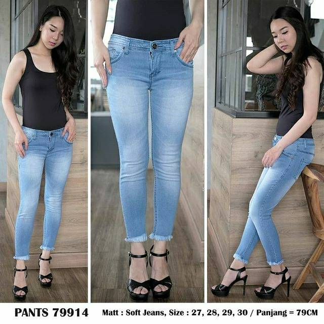 Celana Jeans Wanita Cut Off Fringe Pants 79914 Skinny Stretch Murah