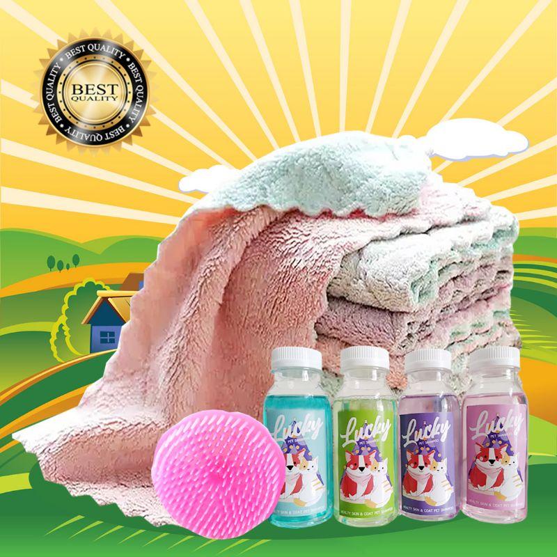 PAKET MANDI KUCING ANJING KELINCI - Dapat Handuk Shampoo Sisir