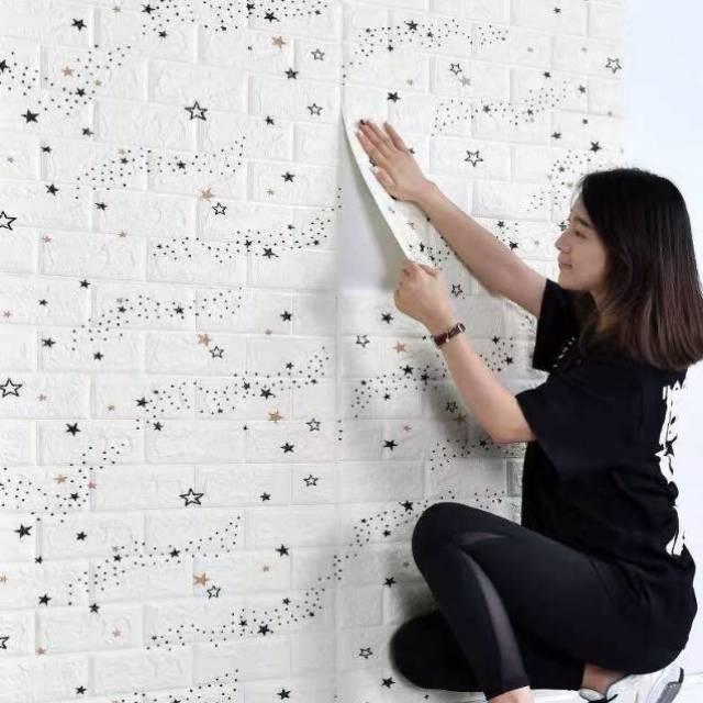 Wallpaper Putih 3D Dinding Foam Batu Bata Waterproof Brick