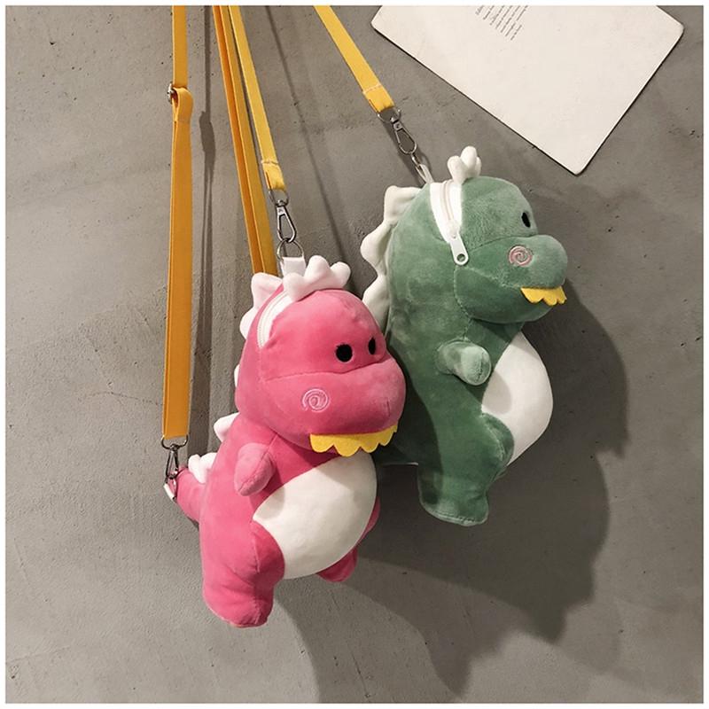 tas selempang mini desain kartun dinosaurus gaya jepang