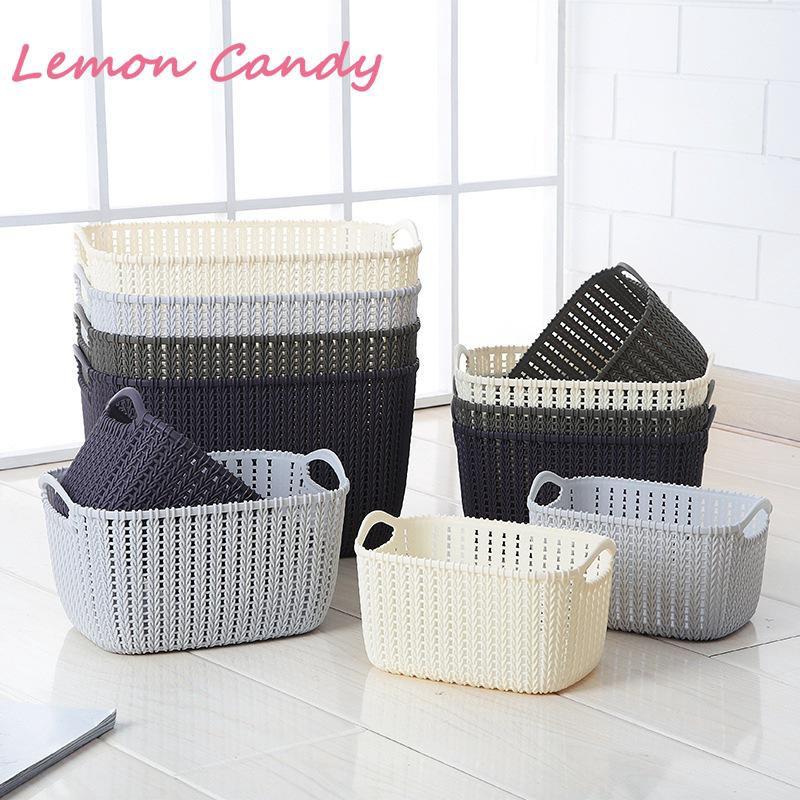 Kitchen Bathroom Desktop Imitation Rattan Storage Basket Plastic Storage Baskets Shopee Indonesia