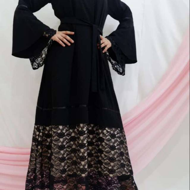 Baju Muslim Abaya Kombinasi Brokat By Zainab Kode 167 Shopee Indonesia