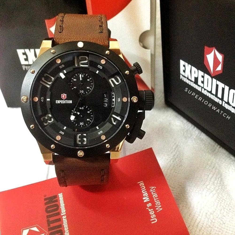 Expedition Exf 6603 Mclipbare Chronograph Man Black Dial E 6698 Mc Steel Titanium Leather Strap Shopee Indonesia