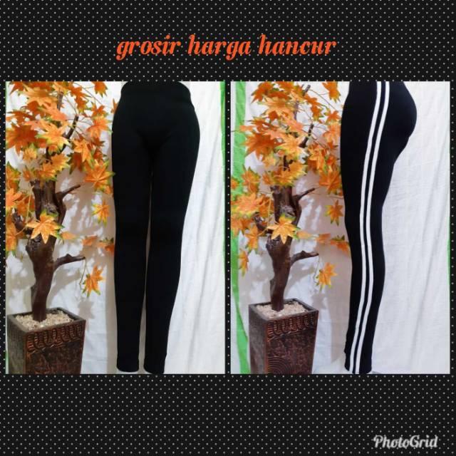 Celana Legging Panjang Garis Putih Sporty Trend Masakini Terbaru Shopee Indonesia