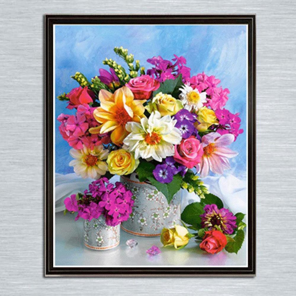 DIY Lukisan Diamond 5D Dengan Gambar Vas Bunga Dan Warna Warni Untuk Hiasan Dekorasi Rumah