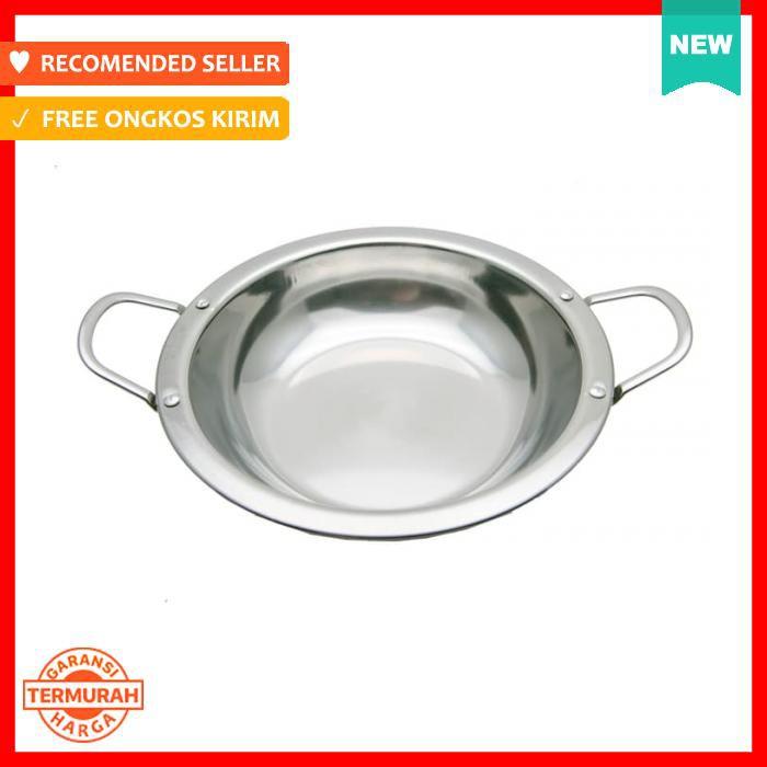 Wok/Wajan/Kuali Stainless Super Tebal Bibir Lebar Rata 32 Cm WSBLDR32 | Shopee