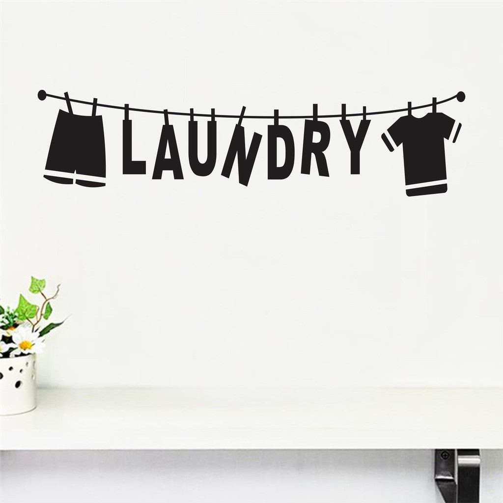 STICKER MESIN CUCI / WALLSTICKER LAUNDRY TEXT AND CLOTHES