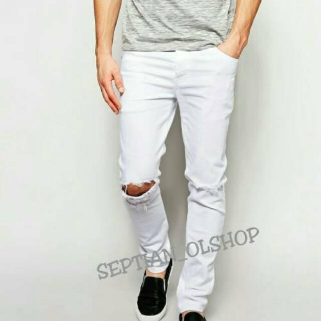 99+  Celana Jeans Putih Pria Sobek Terbaru Gratis