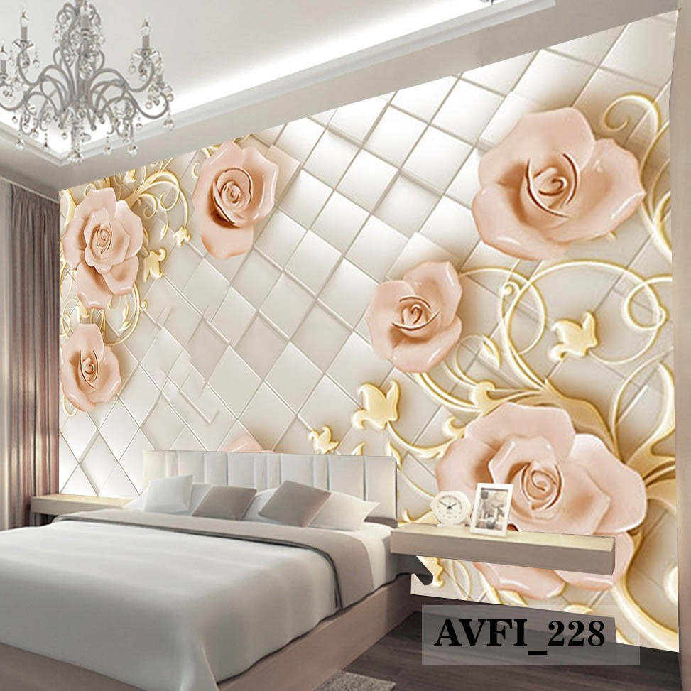 Wallpaper Custom Bunga 3D Wallpaper Custom Mewah HARGA DISKON