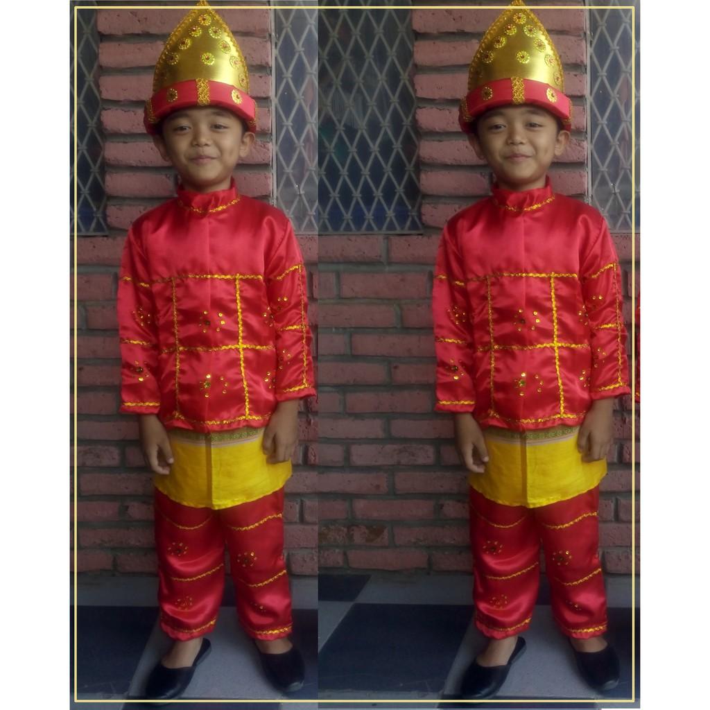 Set Baju Adat Anak Laki Laki Padang Topi Tari Tk Sd Karnaval