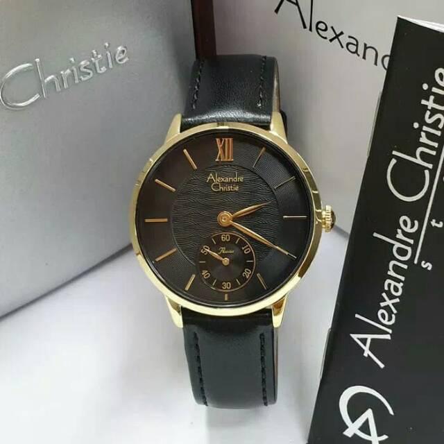 Jam Tangan Wanita Cewek Alexandre Christie Gold Black Tali Kulit Original Hitam Kuning Ac 2682 Shopee Indonesia