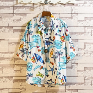 Beach Summer Flower Shirt Loose Shoulder for Japanese Women and Short-sleeved Holiday Men