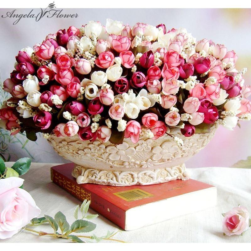 Bunga Musim Gugur 15 Kepala Buket Kecil Bud Roses Brad Buatan