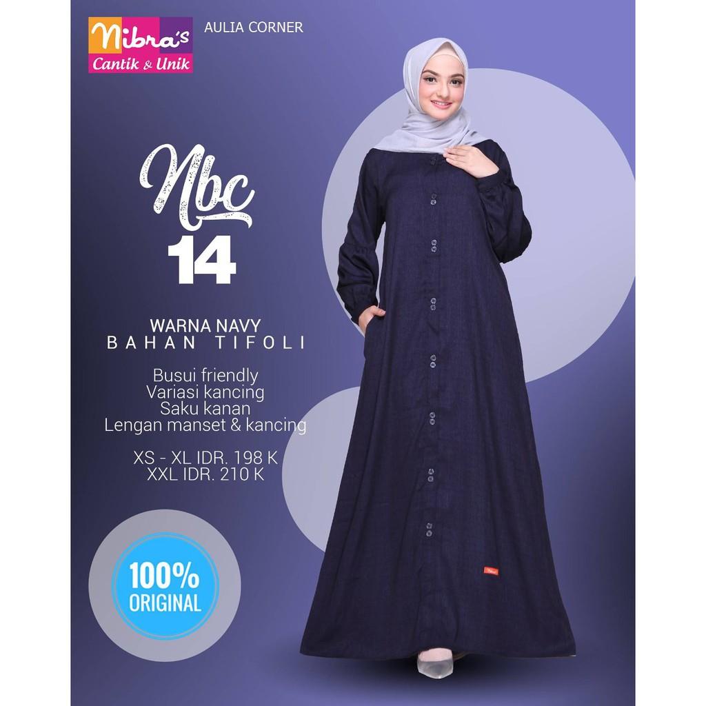 Baju Formal Gamis Terbaru Nibras NBC 10 Navy ORIGINAL Model Baju Muslim  Gamis Sederhana