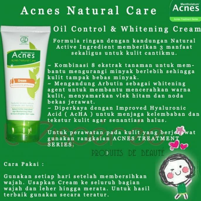 Acnes Natural Care Oil Control & Whitening Cream 40gr / Pelembab Wajah | Shopee Indonesia