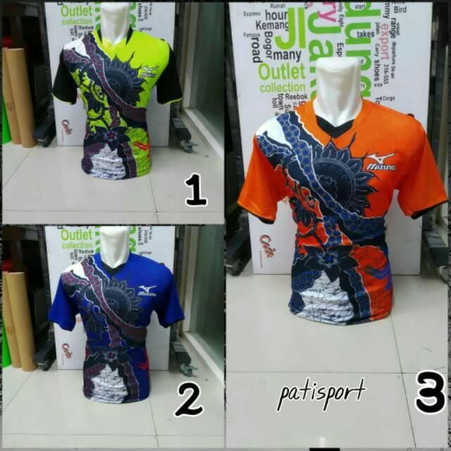 Atasan Mizuno Bunga Printing Baju Kaos Olahraga Jersey Bola Setelan Futsal / Volly