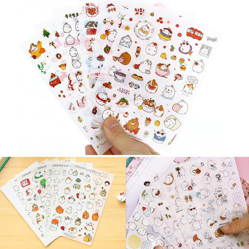 6 sheet Little girl Diary Planner notebook Scrapbook Kawaii Decorative sticker