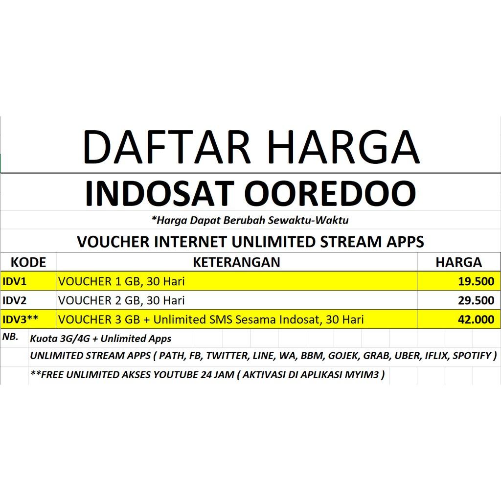 Voucher Indosat 1gb Unlimited Shopee Indonesia Mini