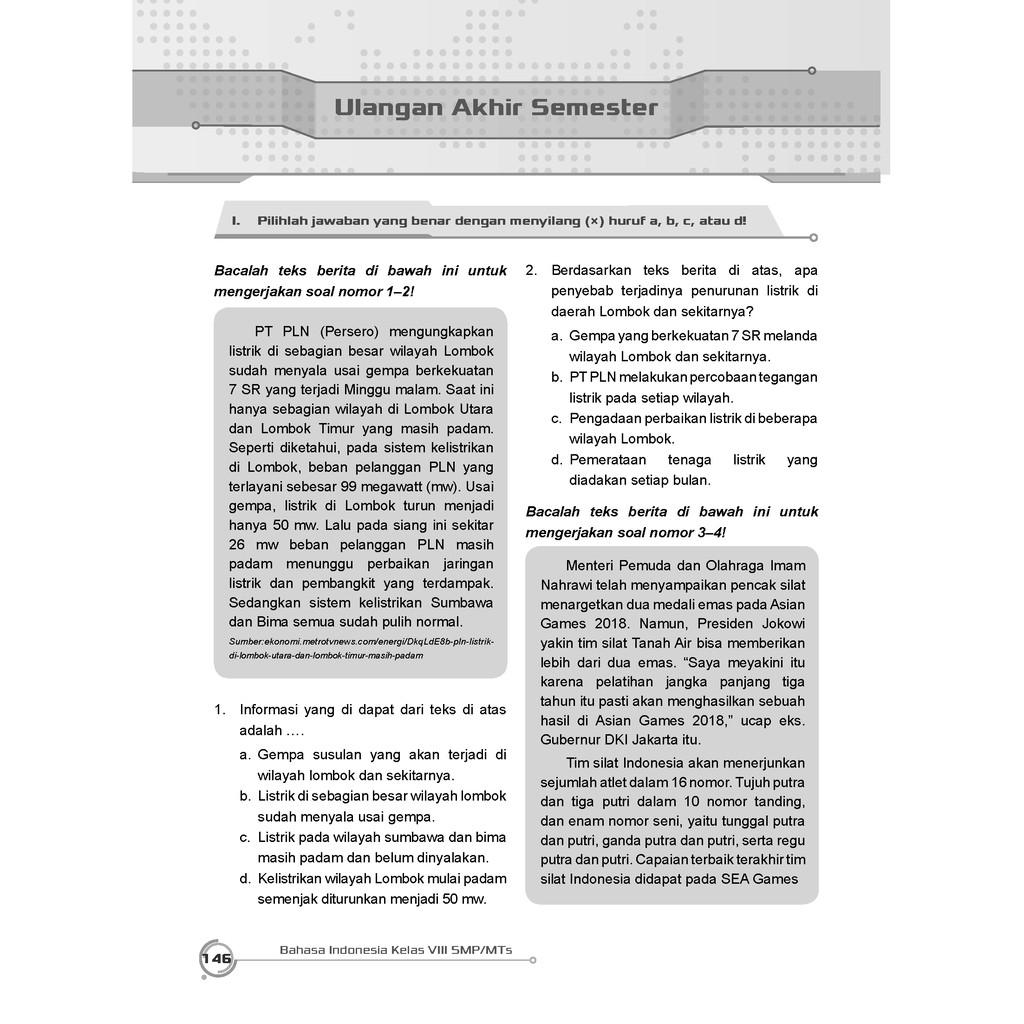 Buku Pendamping Bahasa Indonesia Smp Mts Kelas 8 Kunci Jawaban Incer Shopee Indonesia